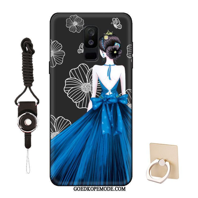 Samsung Galaxy A6+ Hoesje Mobiele Telefoon Bescherming Hoes Zwart Spotprent