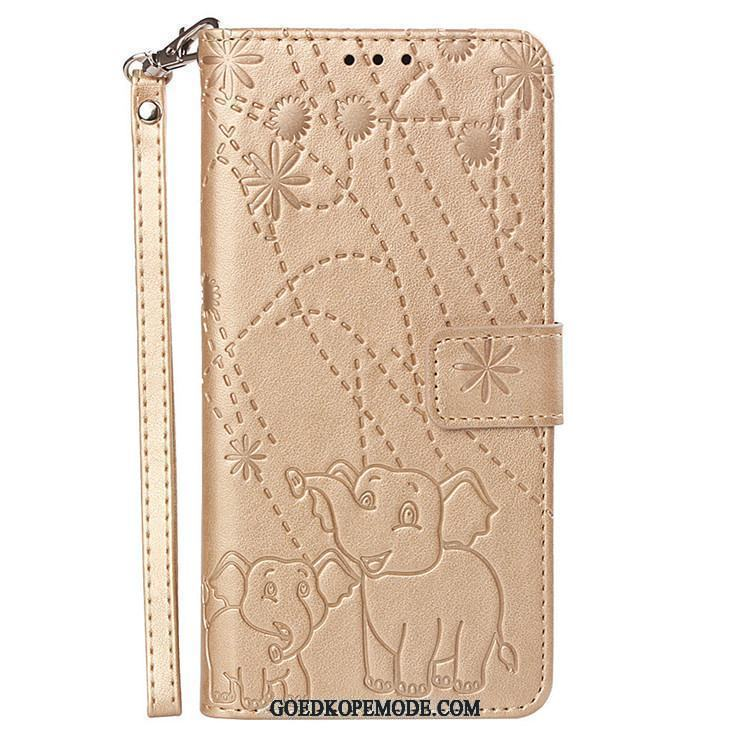 Huawei P Smart Hoesje All Inclusive Goud Leren Etui Anti-fall Hoes