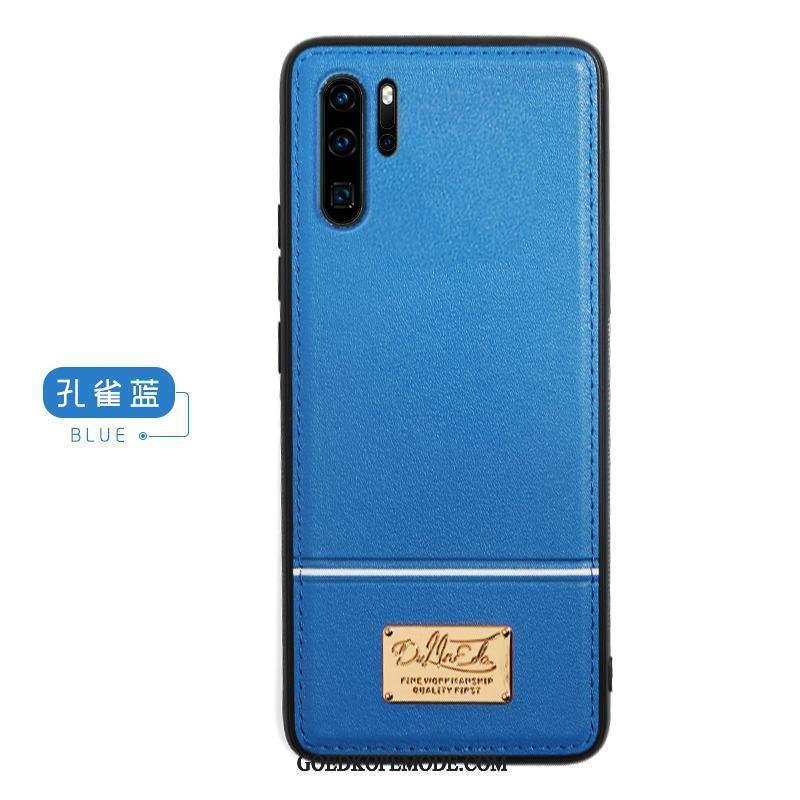 Huawei P30 Pro Hoesje Blauw Bescherming Echt Leer Anti-fall All Inclusive