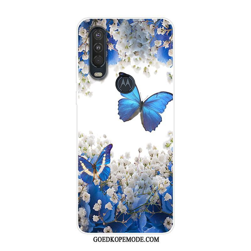 Motorola One Action Hoesje Blauw Hoes Anti-fall Siliconen All Inclusive
