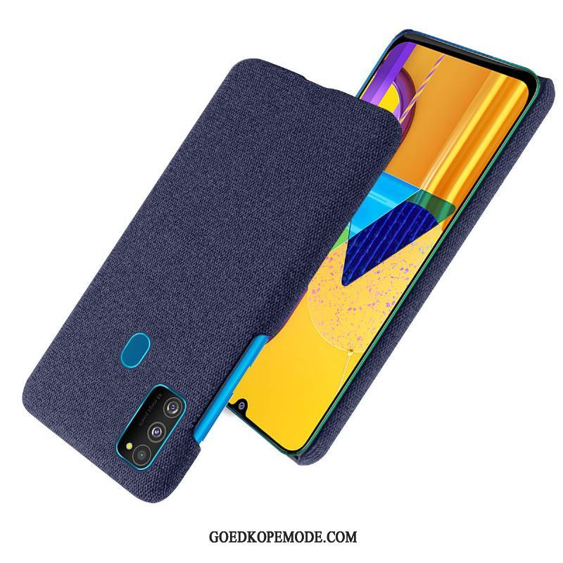 Samsung Galaxy M30s Hoesje Hemming Doek Ster Donkerblauw Hoes