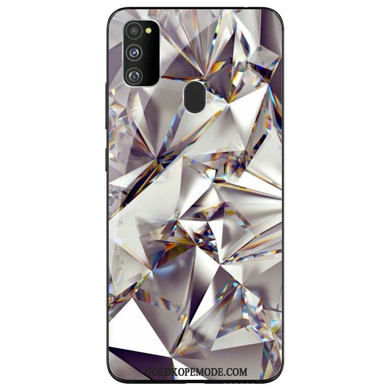 Samsung Galaxy M30s Hoesje Siliconen Anti-fall Zilver Hoes Ster