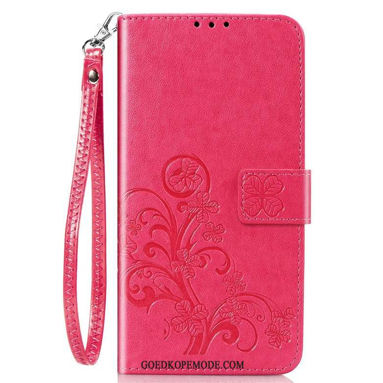 Samsung Galaxy S20 Hoesje Siliconen Leren Etui Rood Clamshell Ster